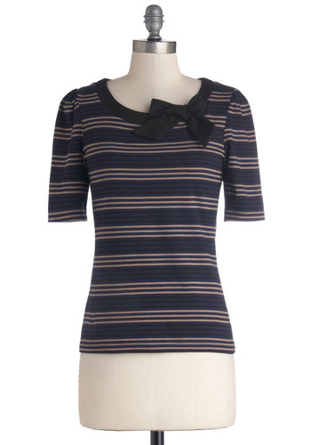 Petit Floret Top in Stripes by People Tree - Mid-length, Jersey, Cotton, Knit, Blue, Tan / Cream, Black, Stripes, Bows, Casual, Eco-Friendly, Short Sleeves, Variation, Scoop