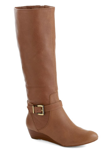 Movie and Shaker Boot in Chestnut - Tan, Solid, Buckles, Mid, Wedge, Leather, Minimal, Basic, Better