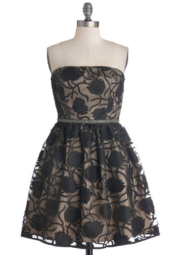 Enchant Me Dress - Woven, Short, Black, Tan / Cream, Floral, Beads, Cocktail, Fit & Flare, Strapless, Better, Prom, Wedding, Party, Holiday Party