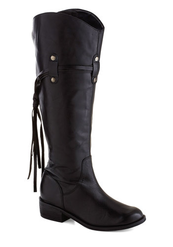 Breakfast Stand Boot - Black, Solid, Tassels, Chunky heel, Low, Best, Leather