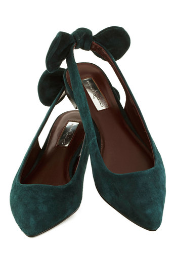 Blithesome Day Flat - Green, Solid, Bows, Flat, Better, Slingback, Leather, Suede, Daytime Party