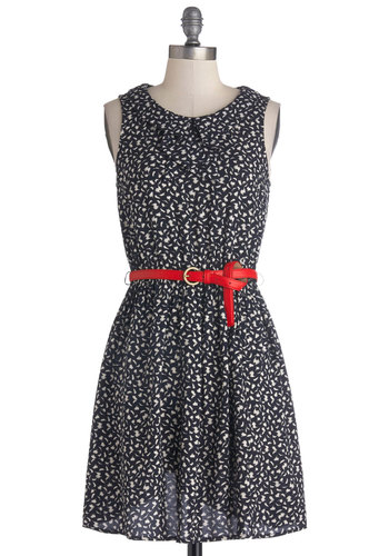 Date Night to Remember Dress - Red, White, Print, Belted, Casual, Sheath / Shift, Sleeveless, Good, Crew, Short, Woven, Black, Peter Pan Collar