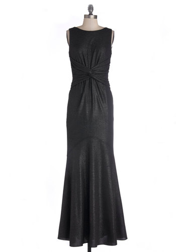 Perfect Opera-tunity Dress - Knit, Long, Black, Silver, Glitter, Ruching, Special Occasion, Maxi, Sleeveless, Better, Boat, Prom, 40s, 30s