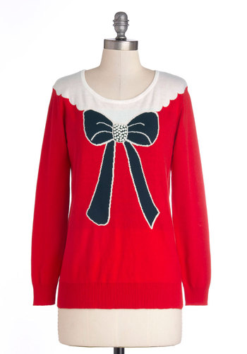 Bow Tableau Sweater - Mid-length, Knit, Red, Blue, White, Novelty Print, Casual, Long Sleeve, Fall, Winter, Holiday, Red, Long Sleeve