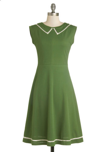 Author Outings Dress in Green by Myrtlewood - Private Label, Long, Knit, Green, White, Solid, Casual, A-line, Sleeveless, Better, Crew, Fit & Flare, Exclusives