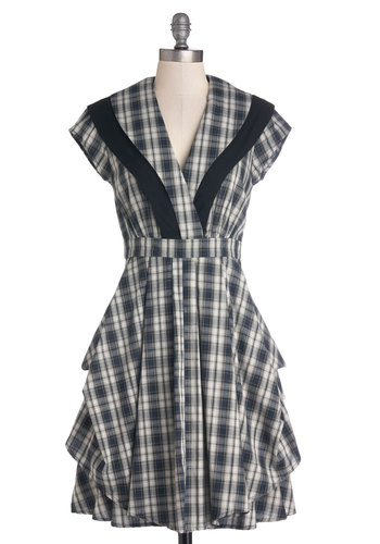 All Hands on Spec Script Dress by Myrtlewood - Private Label, Cotton, Woven, Mid-length, Blue, White, Plaid, Tiered, Casual, A-line, Cap Sleeves, Better, V Neck, Steampunk, Scholastic/Collegiate, Fall, Exclusives, Gifts Sale