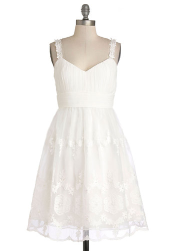 Ask for the Swoon Dress - Wedding, Bride, Long, Woven, White, Solid, Flower, Lace, Graduation, Fairytale, Spaghetti Straps, Sweetheart, Prom