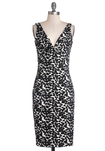 Sharp Showcase Dress by Bettie Page - Long, Knit, Black, White, Party, Sheath / Shift, Tank top (2 thick straps), Better, V Neck, Print, Wedding, Cocktail