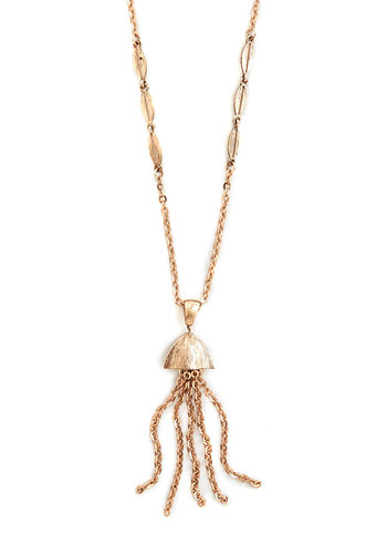 Undersea Elegance Necklace - Gold, Solid, Tassels, Vintage Inspired, 20s, Good, Exclusives, Gold, Print with Animals, Gifts Sale