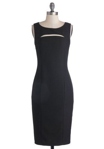 One-Gal Show Dress - Long, Knit, Black, Solid, Cutout, Party, Cocktail, Minimal, Sheath / Shift, Sleeveless, Scoop, LBD