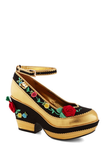 Rosebud Rodeo Heels by Miss L Fire - Multi, Embroidery, Flower, Luxe, Platform, International Designer, Holiday Party, Mid, Gold, Black, Girls Night Out, Chunky heel