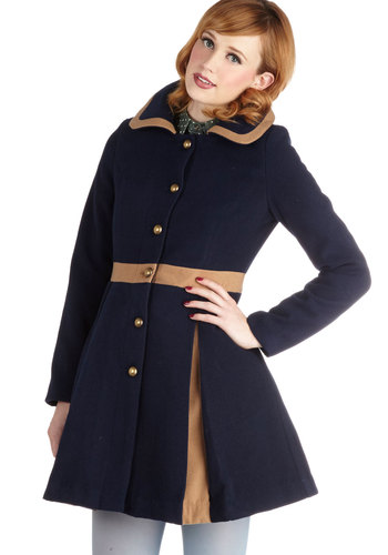 One for the Storybooks Coat - Blue, Long Sleeve, Better, Long, 3, Solid, Buttons, Pockets, Fall, Winter, Blue