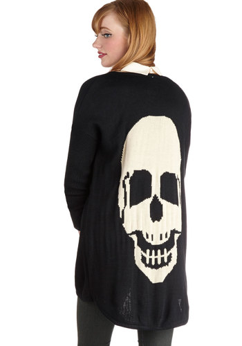 Skull Night Long Cardigan - Black, Tan / Cream, Casual, Long Sleeve, Better, Knit, Novelty Print, Urban, Halloween, Black, Long Sleeve