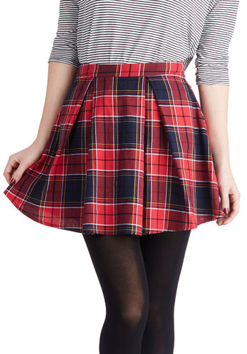 Refined Research Skirt in Red - Short, Cotton, Woven, Red, Plaid, Pleats, Casual, Scholastic/Collegiate, 90s, Mini, Red