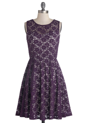 Topiary Artist Dress in Plum - Mid-length, Woven, Purple, White, Lace, A-line, Tank top (2 thick straps), Good, Scoop, Variation, Lace, Valentine's, Fall, Wedding, Daytime Party, Graduation, Bridesmaid