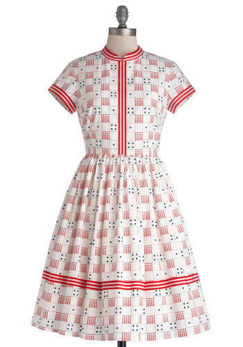 Just Roll With It Dress by Bea & Dot - Private Label, Mid-length, Cotton, Woven, Red, Black, Novelty Print, Pockets, Casual, A-line, Short Sleeves, Better, Collared, Mid-Century, Exclusives, Folk Art, Gifts Sale, White