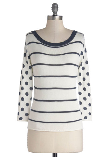 Following Dreams Sweater by Bea & Dot - Private Label, Mid-length, Knit, White, Blue, Polka Dots, Stripes, Casual, Exclusives, White, Long Sleeve