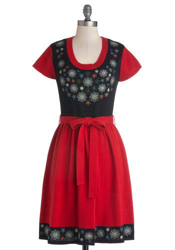 Always Adorable Dress by Bea & Dot - Private Label, Red, Black, Embroidery, Belted, Casual, A-line, Cap Sleeves, Better, Scoop, Exclusives, Folk Art, Fall, Knit, Mid-length, Winter, Gifts Sale
