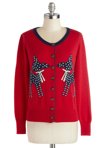 Aren't You Deer Cardigan - Print with Animals, Mid-length, Knit, Buttons, Casual, Long Sleeve, Fall, Winter, Holiday, Red, Long Sleeve