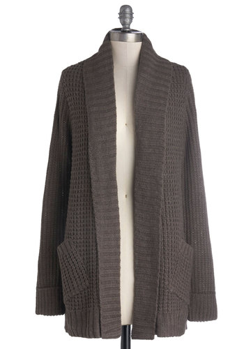 Cozy Companion Cardigan - Brown, Solid, Long Sleeve, Better, Knit, Pockets, Casual, Grey, Long Sleeve