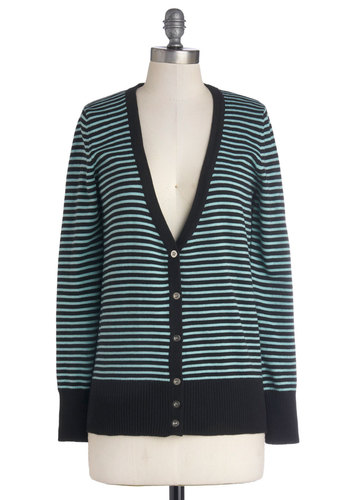 Lesson in Lineage Cardigan - Blue, Black, Stripes, Long Sleeve, Good, Cotton, Knit, Mid-length, Buttons, Casual, Blue, Long Sleeve