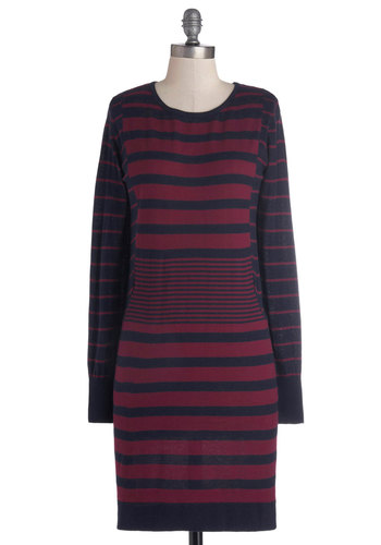 What's in Bookstore Dress - Red, Stripes, Casual, Nautical, Better, Mid-length, Knit, Blue, Sweater Dress, Long Sleeve, Crew, Fall, Winter