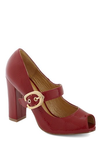 Fiery Flair Heel by Chelsea Crew - Red, Solid, Buckles, Peep Toe, Mid, Better, Work, Vintage Inspired, 40s, Faux Leather, Mary Jane, 90s