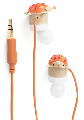 Leading Hedgehog Earbuds by Decor Craft Inc. - Quirky, Good, Orange, Print with Animals, Critters, Woodland Creature, Travel, Under $20