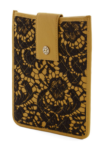 This Quilt Do Tablet Case by Darling - Yellow, Black, Lace, Quilted, International Designer, Faux Leather