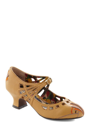 Night in Napier Heel in Mustard by Miss L Fire - Yellow, Multi, Embroidery, Vintage Inspired, 20s, International Designer, Mid, Leather, Print, Cutout, Work, 30s, Variation