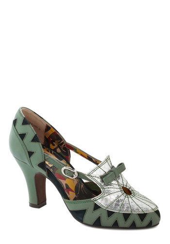 Alumni Reception Heel by Miss L Fire - Green, Silver, Bows, Holiday Party, Luxe, Statement, International Designer, Mid, Leather, Print, Vintage Inspired, 20s