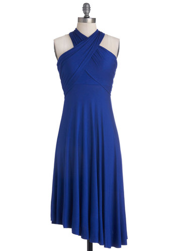 Style-a-Day Dress in Sunday Sapphire - Mid-length, Jersey, Knit, Blue, Solid, Ruching, Casual, A-line, Sleeveless, Good, Strapless, Variation