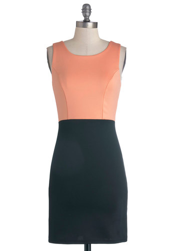 Cocktail Club Dress - Knit, Mid-length, Black, Backless, Bows, Girls Night Out, Twofer, Tank top (2 thick straps), Good, Scoop, Coral, Cocktail, Mini