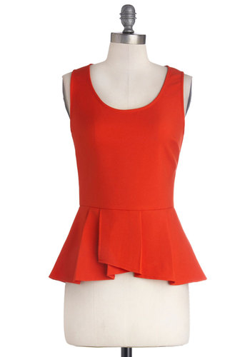 Down to a Refined Art Top in Red - Red, Solid, Peplum, Sleeveless, Good, Mid-length, Knit, Party, Work, Variation, Scoop, Red, Sleeveless