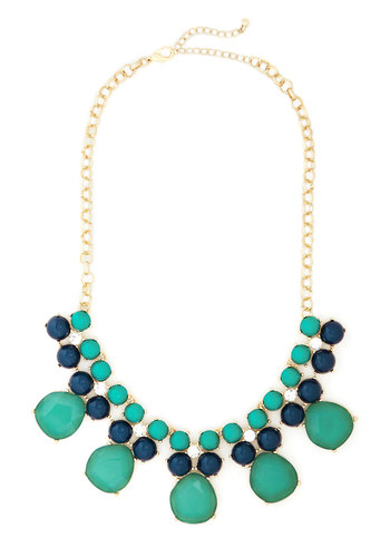 Just Add Shimmer Necklace - Green, Blue, Solid, Rhinestones, Tiered, Statement, Better, Gold, Holiday Party
