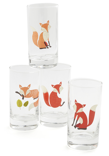 Foxy Moxie Glass Set - Multi, Good, Orange, Print with Animals