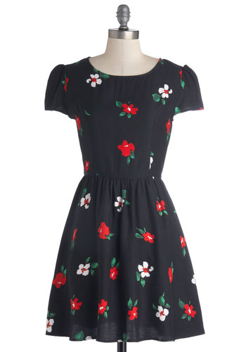 Abundant Applause Dress by Motel - Mid-length, Woven, Black, Red, Green, White, Floral, Casual, A-line, Cap Sleeves, Better, Scoop, Vintage Inspired, 90s, Folk Art