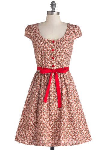 Cookie Cutter Cute Dress - Brown, Red, White, Novelty Print, Buttons, Belted, Casual, Holiday, Quirky, A-line, Cap Sleeves, Better, Scoop, Mid-length, Cotton, Woven