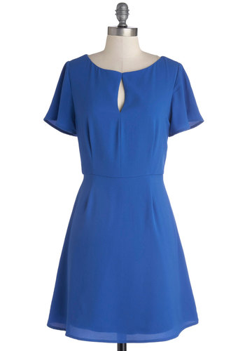 At First Delight Dress - Short, Woven, Blue, Solid, Short Sleeves
