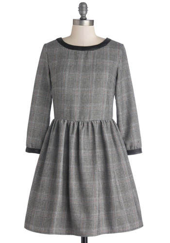 Tutor Interview Dress - Grey, Black, Plaid, Vintage Inspired, 50s, Scholastic/Collegiate, A-line, 3/4 Sleeve, Better, Scoop, Mid-length, Woven, Trim, Work, Fall, Winter