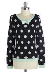 Lay of the Library Sweater by Bea & Dot - Private Label, Mid-length, Knit, Black, White, Mint, Polka Dots, Bows, Casual, Long Sleeve, Fall, Exclusives, Crew, Black, Long Sleeve, Gifts Sale