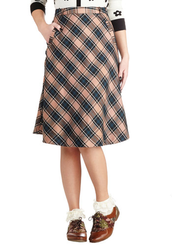 Fresh Forecast Skirt in Beige by Myrtlewood - Private Label, Long, Woven, Plaid, Scholastic/Collegiate, A-line, Exclusives, Work, 90s, Brown, Brown, Gifts Sale