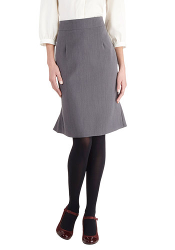 Home Database Skirt by Myrtlewood - Private Label, Mid-length, Woven, Grey, Ruffles, Work, Better, Solid, Pencil, Exclusives