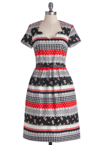 Make Yourself at Home Dress by Bea & Dot - Private Label, Red, Black, White, Print, Belted, Casual, A-line, Short Sleeves, Better, Scallops, Exclusives, Folk Art, Fall