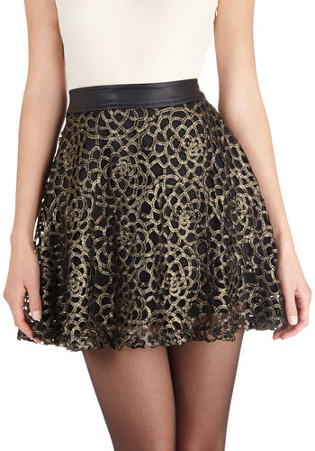 Experts Filigree Skirt - Faux Leather, Woven, Exposed zipper, Lace, Party, Girls Night Out, Better, Black, Gold, A-line, Black, Gold, Lace, Short