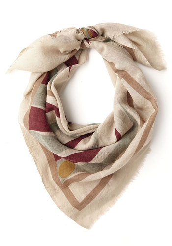 On Board Scarf by Nice Things - Multi, Print, International Designer, Woven, Cream, Novelty Print