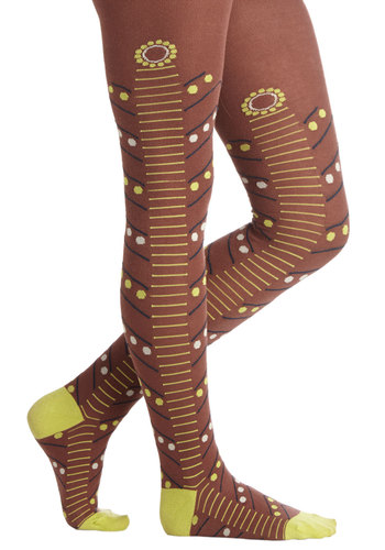 Happy Glow Lucky Tights - Brown, Yellow, Black, White, Print, Chevron, Knit, Fall, Winter, Best