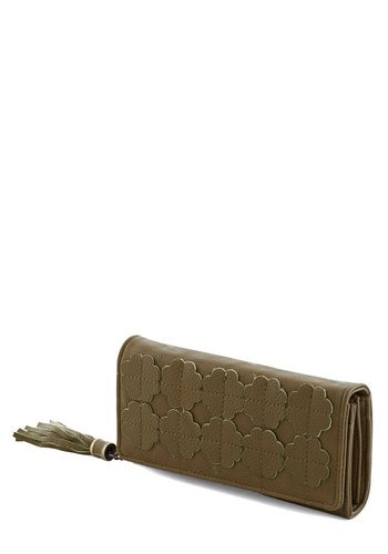 How Do You Bamboo? Wallet by Darling - Green, Tassles, International Designer, Faux Leather, Solid, Flower