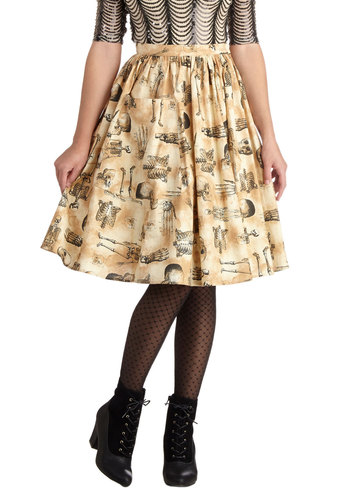 Endoskeletal Hand Jive Skirt by Bea & Dot - Private Label, Mid-length, Cotton, Woven, Exclusives, Tan, Novelty Print, Pockets, Casual, Halloween, A-line, Brown