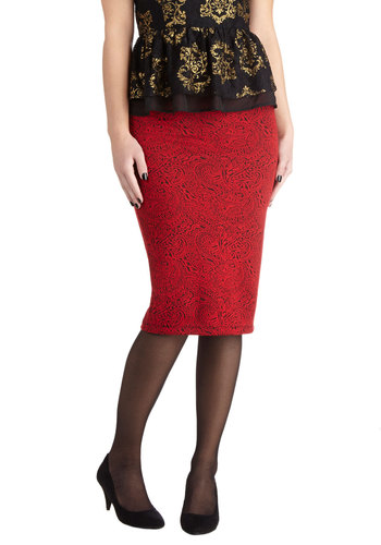 Dare to Dream Skirt by Jack by BB Dakota - Long, Knit, Red, Paisley, Work, Cocktail, Pinup, Vintage Inspired, Pencil, Red